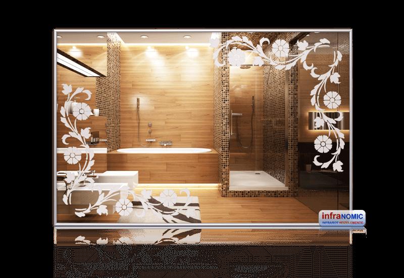 Darstellung einer Infrarot-Spiegelheizung mit Blumenranke Muster