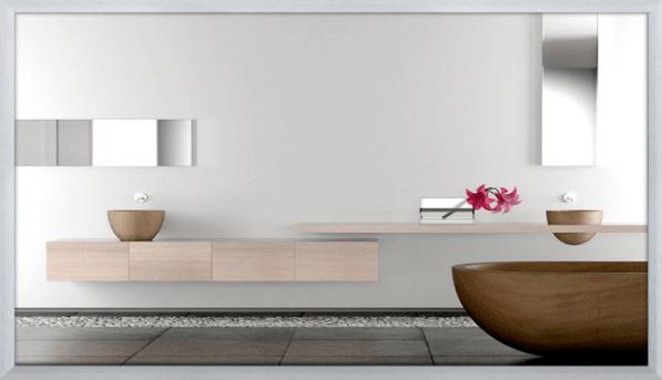 Darstellung einer Infrarot-Spiegelheizung im Badezimmer
