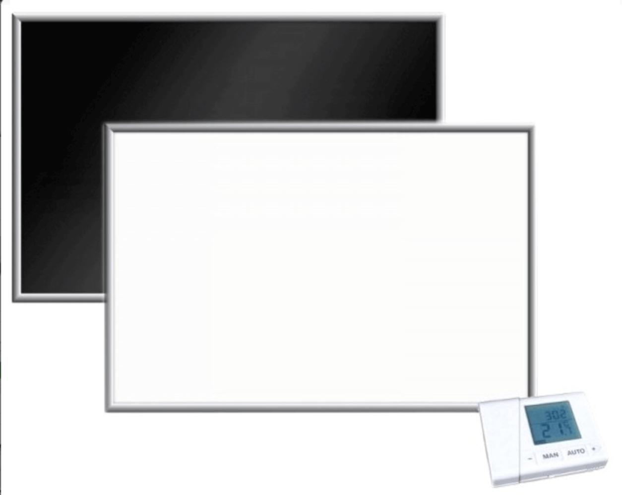 Darstellung einer 1000 Watt Glasheizung der Marke Firstheating inkl. Funkthermostat-Set