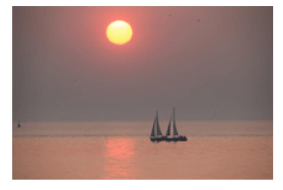 Darstellung einer Infrarot Bildheizung mit Segelboot und Sonne und 600Watt Leistung