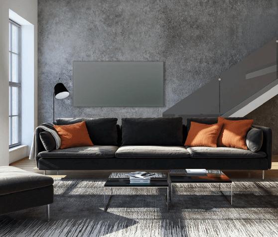 Darstellung einer Glasheizung im Wohnbereich an der Wand