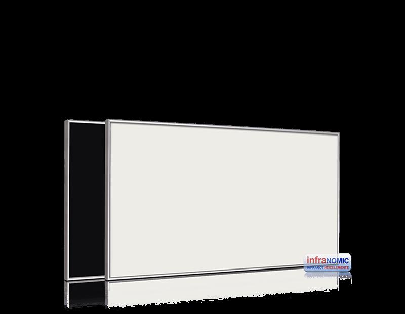 Darstellung einer Glasheizung der Marke infranomic mit einem Leistungsspektrum von 210-1400Watt