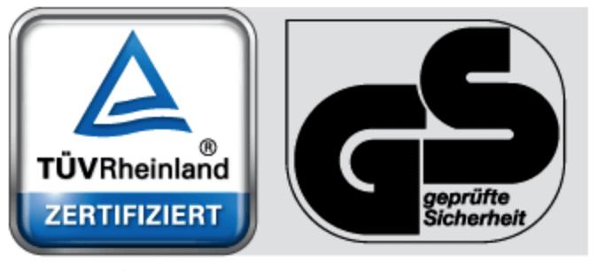 Darstellung des TÜV Rheinland und des GS-Zeichens