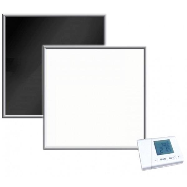 Darstellung einer 500Watt Glasheizung von Firsheating inkl. Funkthermostat-Set
